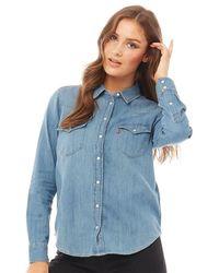Levi's Ultimate Western Denim Snap Shirt Love Blue