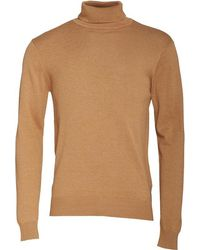 French Connection - Cotton Roll Neck Jumper Camel Melange - Lyst