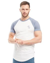e8c977f605d French Connection - Script Raglan T-shirt White/light Blue Melange - Lyst