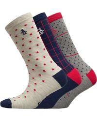 Original Penguin Three Pack Ankle Socks Guide Line Navy Red - Blue