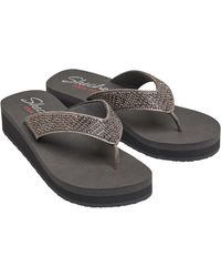 Skechers Vinyasa Beach League Yoga Foam® Pewter Sandalen Met Sleehak Grijs - Zwart