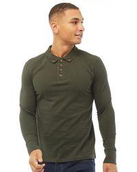 Brave Soul Abraham Long Sleeve Polo Dark Khaki - Green