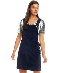 Brave Soul Alexa Corduroy Dungaree Dress Navy - Blue
