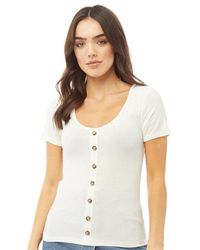 Brave Soul - Polly Scoop Neck T-shirt Off White - Lyst
