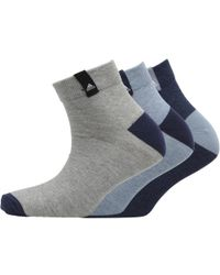 adidas - Performance Ankle Three Pack Socks Mystery Blue/medium Grey Heather/blue - Lyst