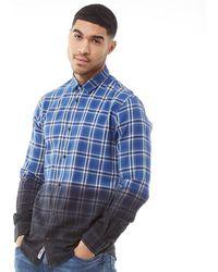 Only & Sons Kirk Dip Dyed Geruit Overhemd Met Lange Mouwen Geruit Blauw