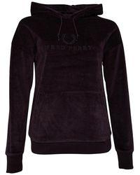 Fred Perry Hooded Velour Sweatshirt Deep Purple