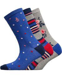 Original Penguin Three Pack Socks Floral/grey/blue/red