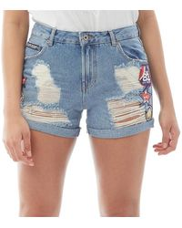 Superdry Steph Boyfriend Hawaii Badged Denim Short Lichtblauw