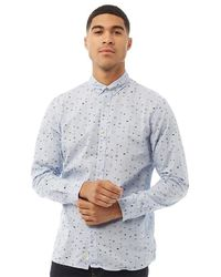 Produkt Space Aop Long Sleeve Shirt Chambray Blue