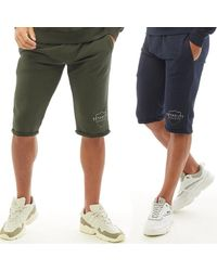 883 Police Dwyer Two Pack Jersey Shorts Navy/khaki - Blue