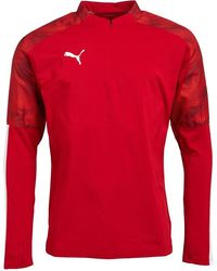 PUMA Cup 1/4 Zip Training Top mit langem Arm Rot
