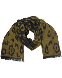 French Connection Reversible Cheetah Print Scarf Black/citronelle