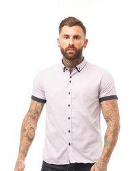 883 Police Gian Short Sleeve Shirt Lilac - Multicolour
