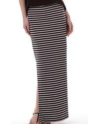 ONLY - Abbie Stripe Long Slit Skirt Black/light Grey Marl - Lyst