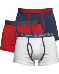 Original Penguin - Three Pack Boxers High Risk Red/dark Denim/white - Lyst