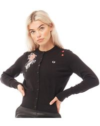 Fred Perry Cardigan Embroidered Noir