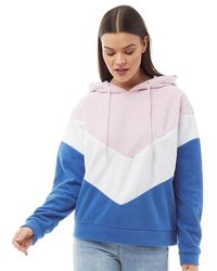 Brave Soul Polaris Fleece Hoodie Pink/white Blue