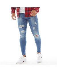 Good For Nothing Destroyed Denim Skinny Jeans Washed Blue