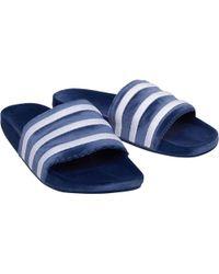 ae8349b9d6be adidas Originals - Adilette Slide Sandals Mystery Blue footwear  White footwear White - Lyst