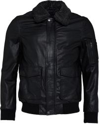 French Connection Leather Flight Jacket Black