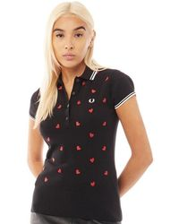 Fred Perry X Amy Winehouse Heart Embroidered Knitted Shirt Black