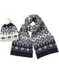 French Connection - Snowflake Hat And Scarf Set Navy/cream - Lyst