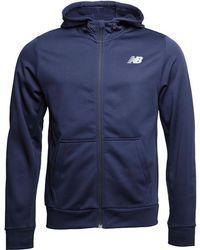 New Balance - Accelerate Tech Poly Fleece Full Zip Hoody Pigment Navy - Lyst