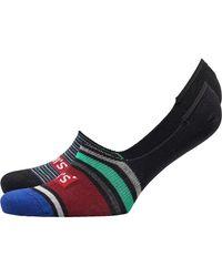 Levi's 168 Series Streifen Zwei Pack Socken Burgunderrot - Mehrfarbig