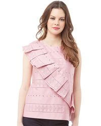 Ted Baker Forelli Ruffle Front Embroidered Sleeve Top Dusky Pink