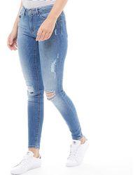 ONLY - Carmen Reg Skinny Jeans Medium Blue - Lyst