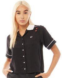 Fred Perry Embroidered Bowling Shirt Black