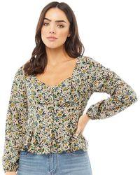 Brave Soul Paris Puff Sleeve Blouse Mixed Floral Print - Multicolour