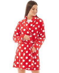 Brave Soul Dotty Dressing Gown Red/white Polka Dot