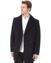 French Connection - Deans Double Breasted Coat Navy - Lyst