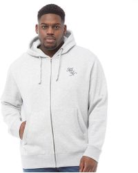 99c3f755c24 French Connection - Plus Size Script Zip Hoodie Light Grey Melange/marine -  Lyst