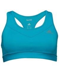 89ddf76d18 adidas - Techfit Climacool Solid Sports Bra Top Blue - Lyst