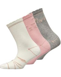 Ted Baker Candie Cat Sock Three Pack Multi - Multicolour