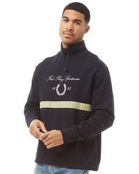 Fred Perry Emb Funnel Neck Sweatshirt Navy - Blue