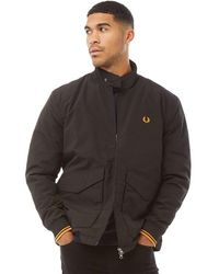 Fred Perry Quilted Harrington Jacket Black