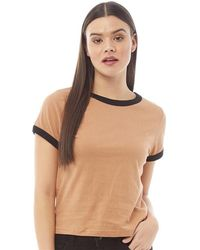 Brave Soul Claudia T-shirt Camel/black - Natural