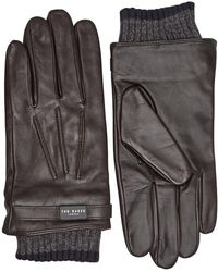 Ted Baker Fringe Ribbed Cuff Leather Gloves Chocolate - Brown