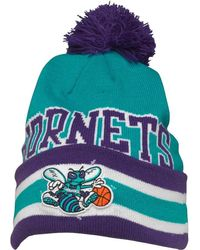 Mitchell & Ness - Charlotte Hornets Cuff Knit Bobble Hat Blue/purple - Lyst