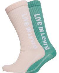 Levi's Two Pack Vintage Cut Sport Socks Pink/green - Multicolour