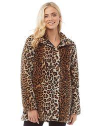 ONLY Vida Leopard Kunstfell Mantel Braunes Tiermuster