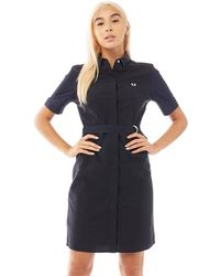 Fred Perry Belted Shirt Dress Navy - Blue