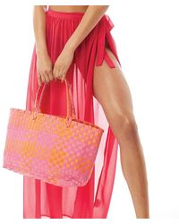 South Beach Checked Woven Beach Bag Multi - Pink