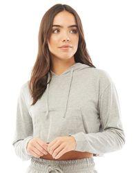 Brave Soul Berta Long Sleeve Hooded Top Grey Marl