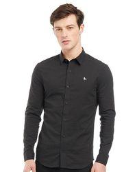 Jack Wills Hinton Stretch Skinny Fit Long Sleeve Shirt Black