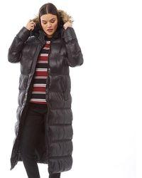 Brave Soul Hopshine Max Padded Coat With Faux Fur Trim Hood Black/natural